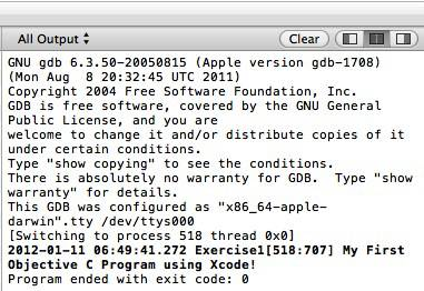 Xcode Console Output Window