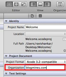 How to set Organization name for Xcode Project
