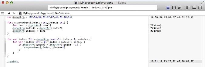 Bubble Sort in Swift Programming language