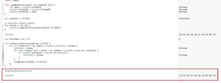 Selection Sort algorithm in Swift