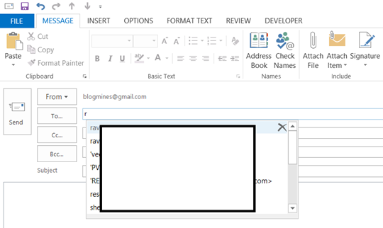 Outlook To, Bcc, Cc field suggesting names