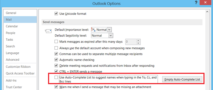 Turn Off suggesting names in Outlook 2013 and Outlook 2010
