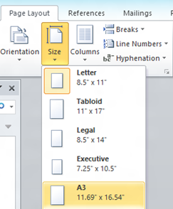 Change Page Size in Word 2010