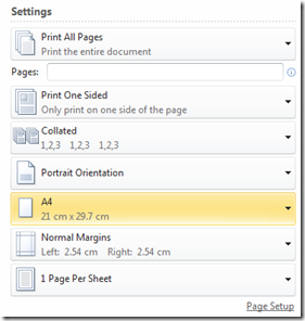 Word 2010 Change Page Size using Print