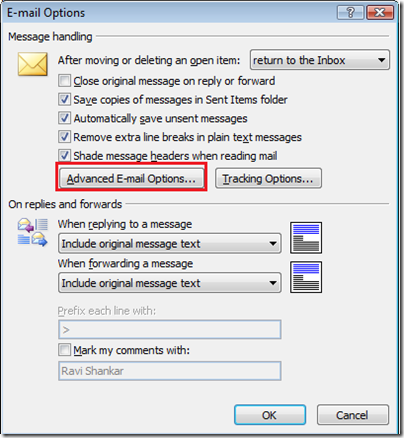 Advanced E-mail Options in Outlook 2007