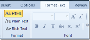 format Text in Outlook 2010 and Outlook 2013