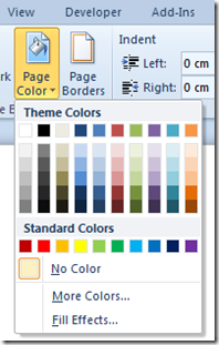 Page Colour in Word 2010