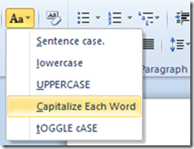 CASE options in Word 2010