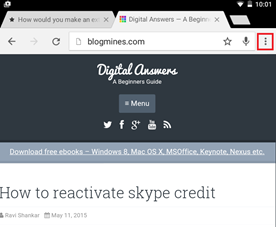 Menu Option in Google Chrome Android