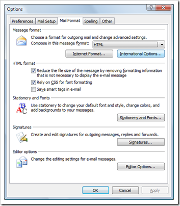 Compose in message format in Outlook 2007