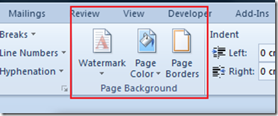 Page Background Section in Word 2010