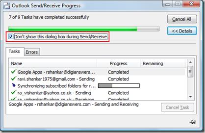 Outlook Send/Receive Progress