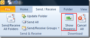 Show Progress dialog in Outlook 2013 and Outlook 2010
