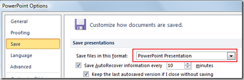 PowerPoint 2010 Save Options