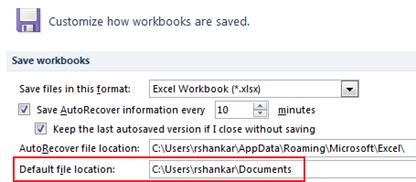 Change file location excel 2010