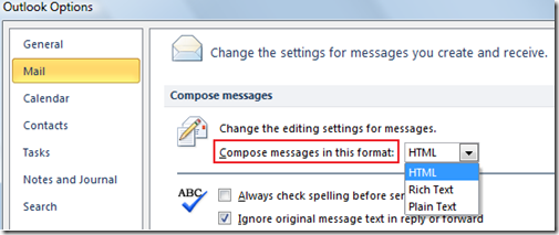 Compose messages in this format in Outlook