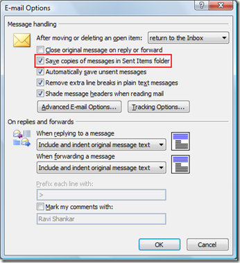 Save messages in Sent Items folder in Outlook 2007