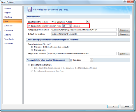 AutoRecover file location in Word 2007
