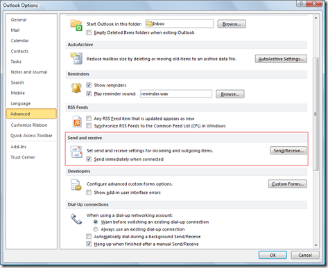 Send and Receive in Outlook 2013 and Outlook 2010
