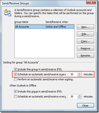 Schedule an automatic send/receive in Outlook 2010 and Outlook 2013