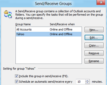 Send/Receive Groups in Outlook 2010 and Outlook 2013