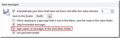 Save copies of messages in the Sent Items folder in Outlook 2013