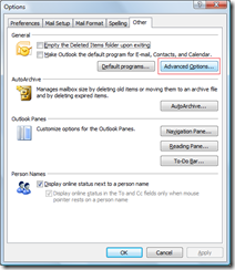 Advanced Options in Outlook 2007