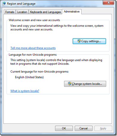 Change system locale on Windows 7