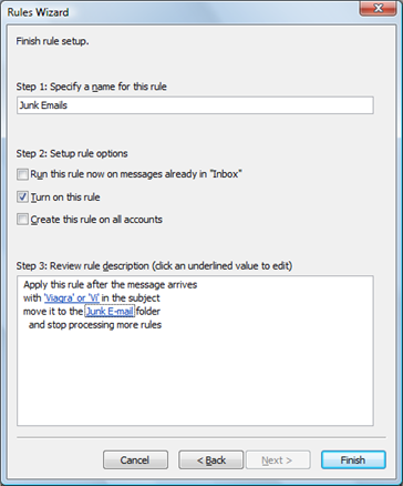 Rules Wizard in Outlook