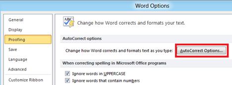Word 2010 Autocorrect options