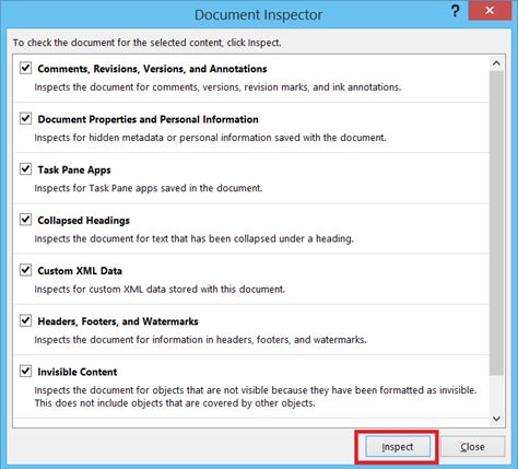 Document Inspector in Word 2013