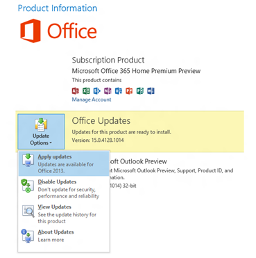 Office 2013 Apply Updates