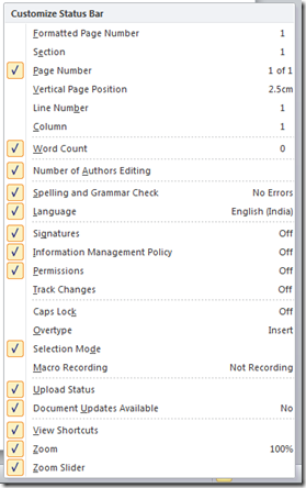 Turn on or off status bar feature in Word 2013 and Word 2010