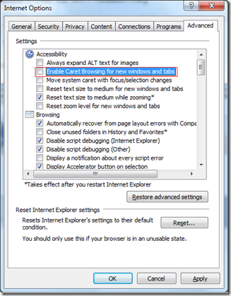 Caret Browsing Internet Option