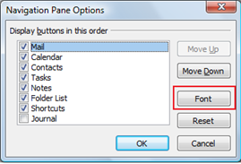 Navigation Pane Options - Outlook 2010