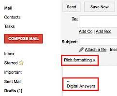 Gmail Rich Text Formatting