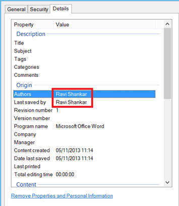 File Properties of Word document