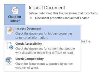 Inspect Document in Word 2013