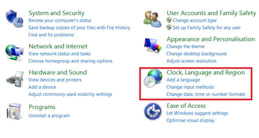 Clock, Language and Region in Windows8.1