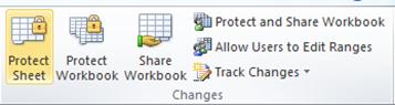 Review menu - Protect Sheet