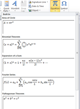 Word 2010 Insert Equation