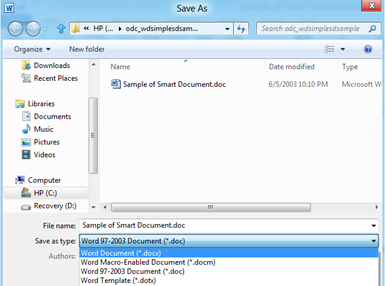 File Save as type .docx