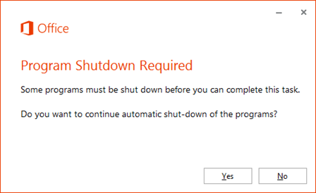 office 2013 automatic shut-down