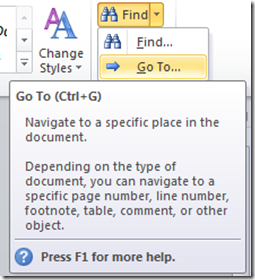 Go To option in Word 2013 and Word 2010