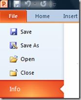 PowerPoint Info menu