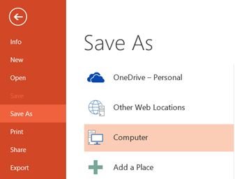 Save As PowerPoint 2013 and PowerPoint 2010