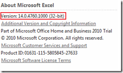 About Microsoft Excel window in Excel 2013 and Excel 2010