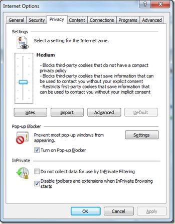 popup blocker in Internet Explorer 8