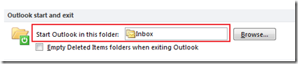 Start outlook 2013 and Outlook 2010 with this folder