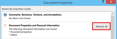 Remove All Document Properties and Personal Information